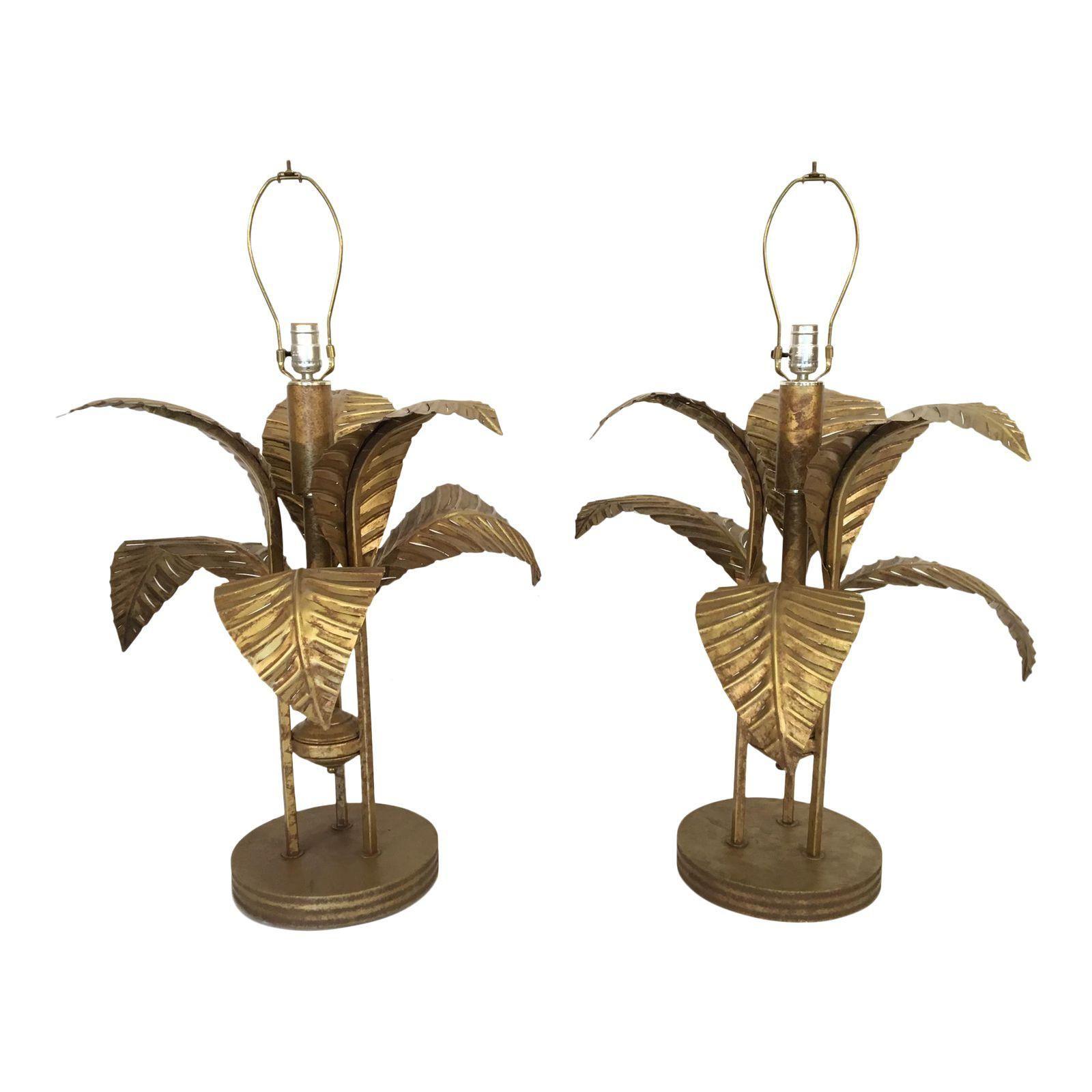 Large tole gold gilt sculptural palm tree leaf table lamps a pair