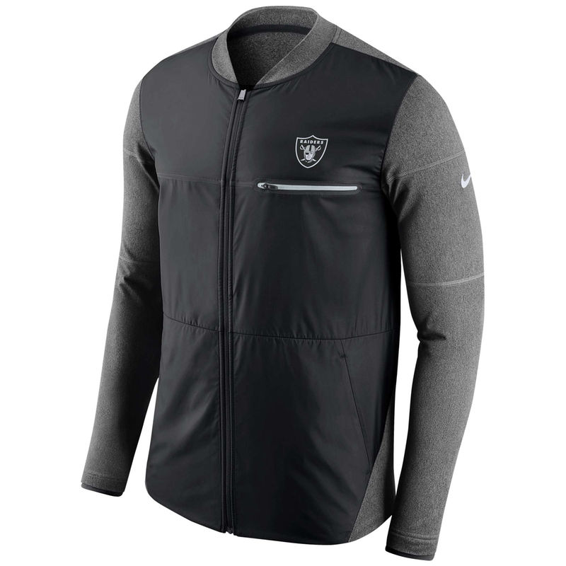 96bf688d9853 Oakland Raiders Nike Sideline Shield Hybrid Full-Zip Jacket - Black ...