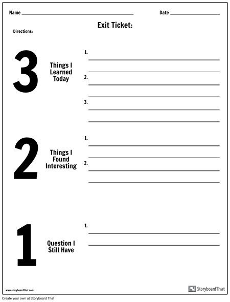 Exit Ticket 3 2 1 Exit Tickets Exit Tickets Template Ticket Template