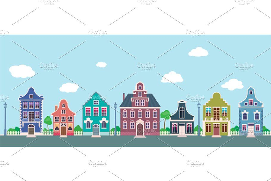 Facades Of Old Houses On City Street In 2020 Building Illustration Facade City Streets