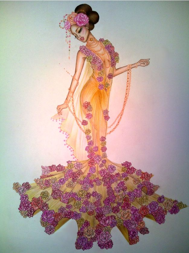 Theme based fashion illustrations dresses