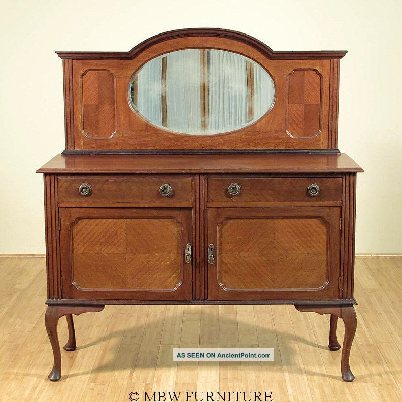 1920 Mahogany Queen Anne Buffet Sideboard Server