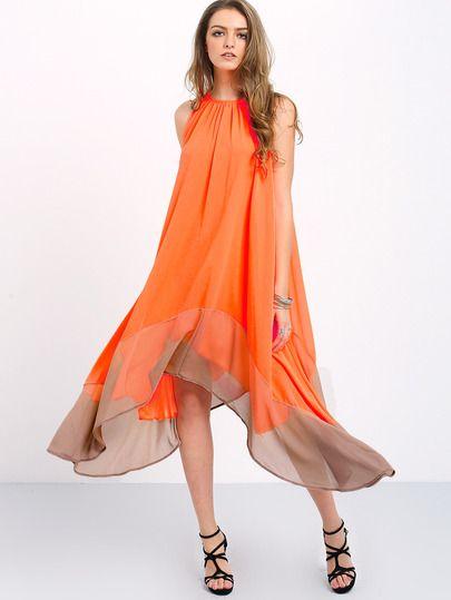 Colour-block Loose Tent Dress  1f07a4fd7d03
