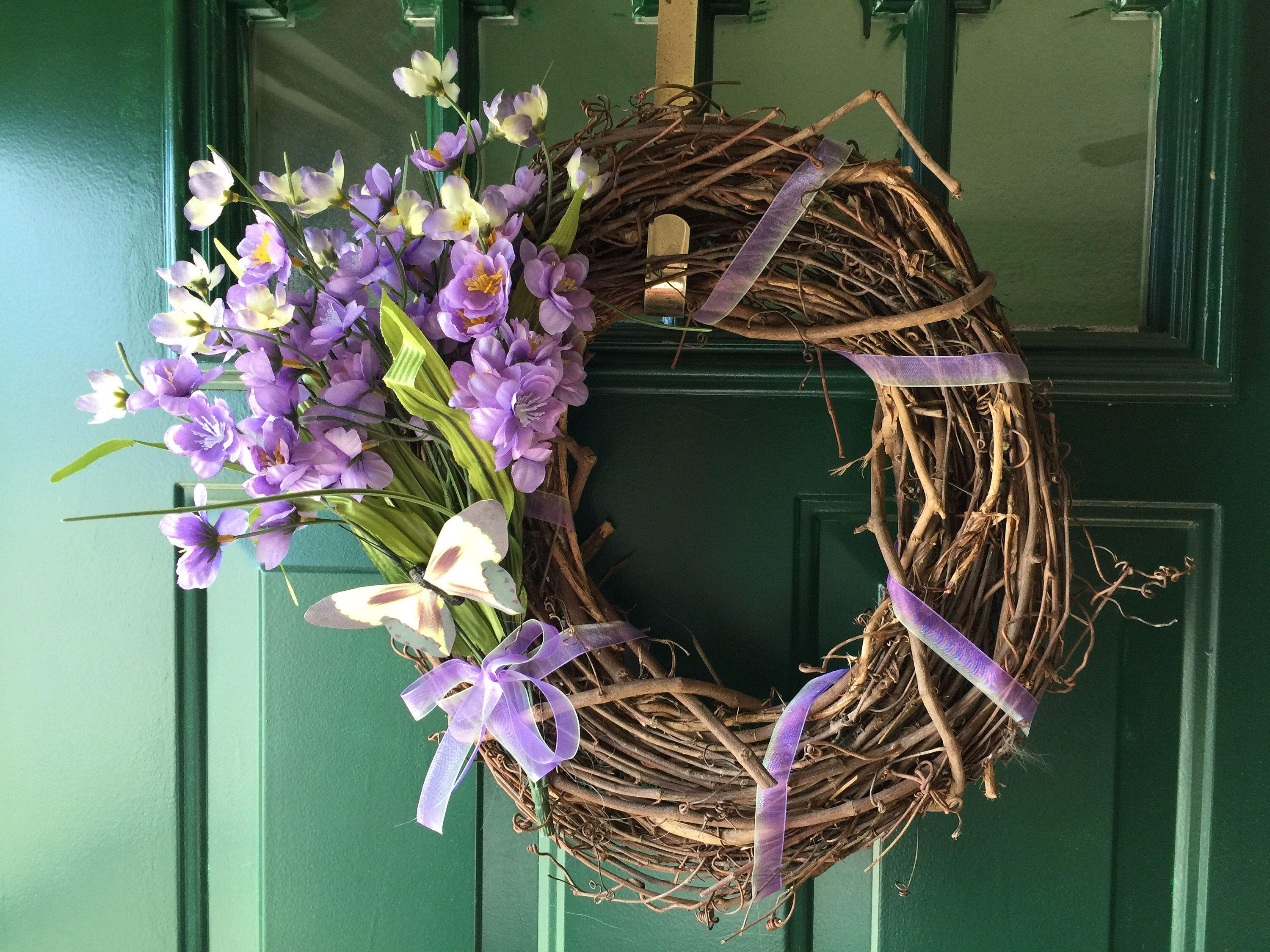 Photo of Spring floral grapevine wreath