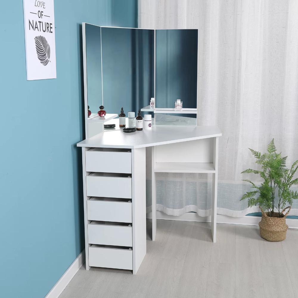 Cormier Corner Makeup Vanity With Mirror In 2020 Vanity Mirror Corner Makeup Vanity Makeup Vanity