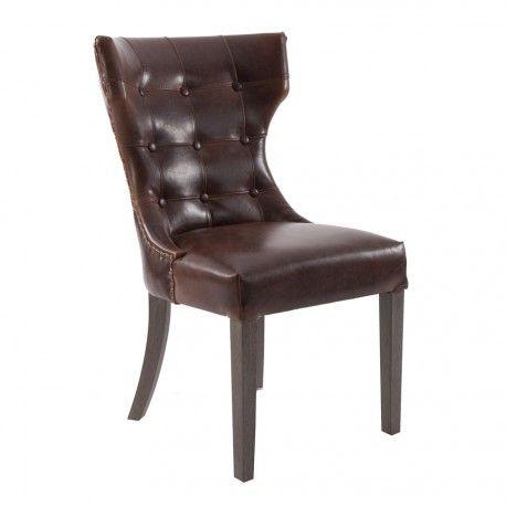 2a155616f17e chaise atelier chic en cuir vieilli marron et dossier capitonné Vical Home  Vical home en vente à 413,00 € seulement chez Auxportesdeladeco