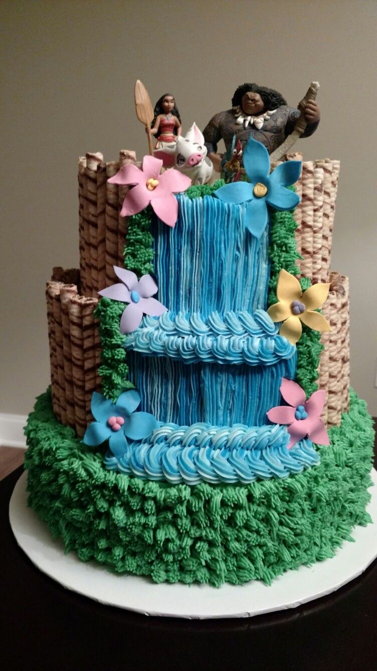 moana waterfall cake my cake creations pinterest g teau f tes et anniversaires. Black Bedroom Furniture Sets. Home Design Ideas