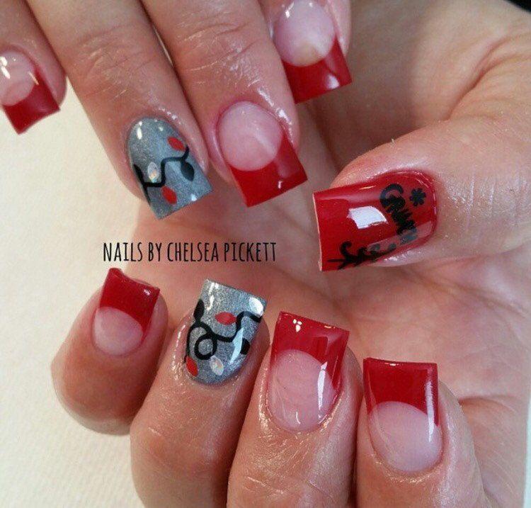 christmas lights nail decal red