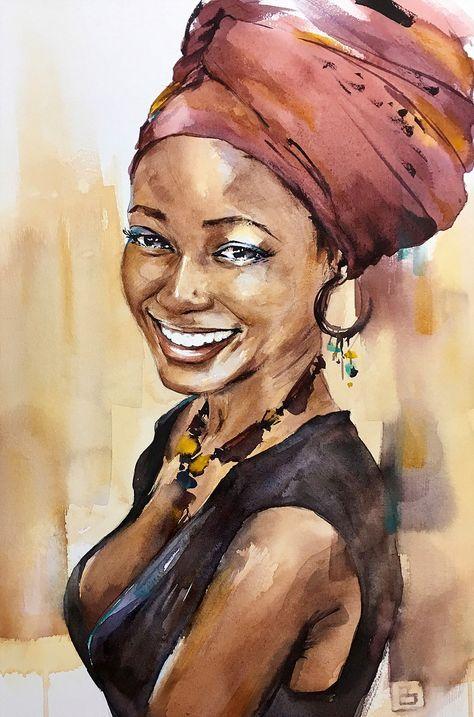 Créole | Peinture africaine, Portrait abstrait, Portraits aquarelle