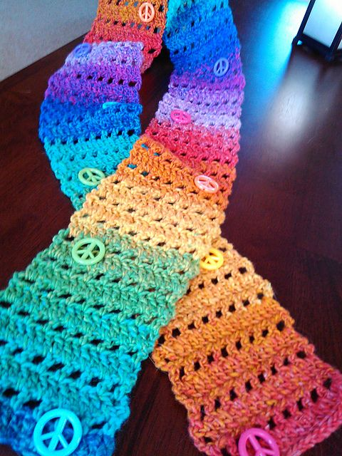 Ravelry Free Smoothfoxs Easy Peace Sign Skinny Scarf Pattern By