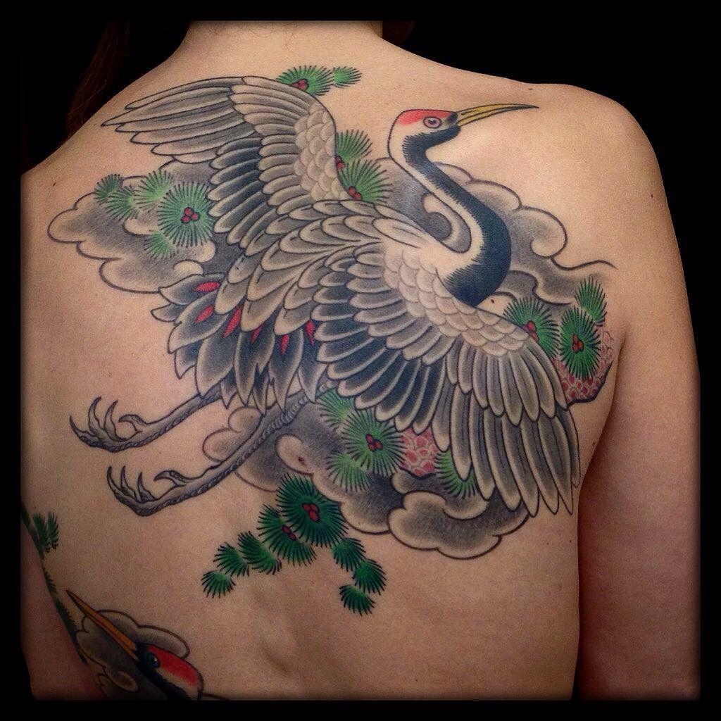 Merci isafrtn japanesetattoo crane irezumi tattoo