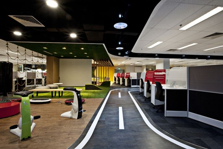 Breakout areas singtel call centre by sca design