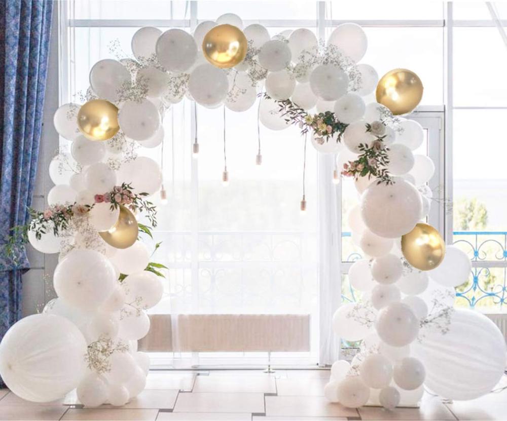 AmazonSmile: Beaumode Weiß und Gold Ballon Girlande Kit Luftballons Bogen von 109 Stück verschiedene Latex-Luftballons für Babyparty Weiß Hochzeit Bachelorette Pa ...