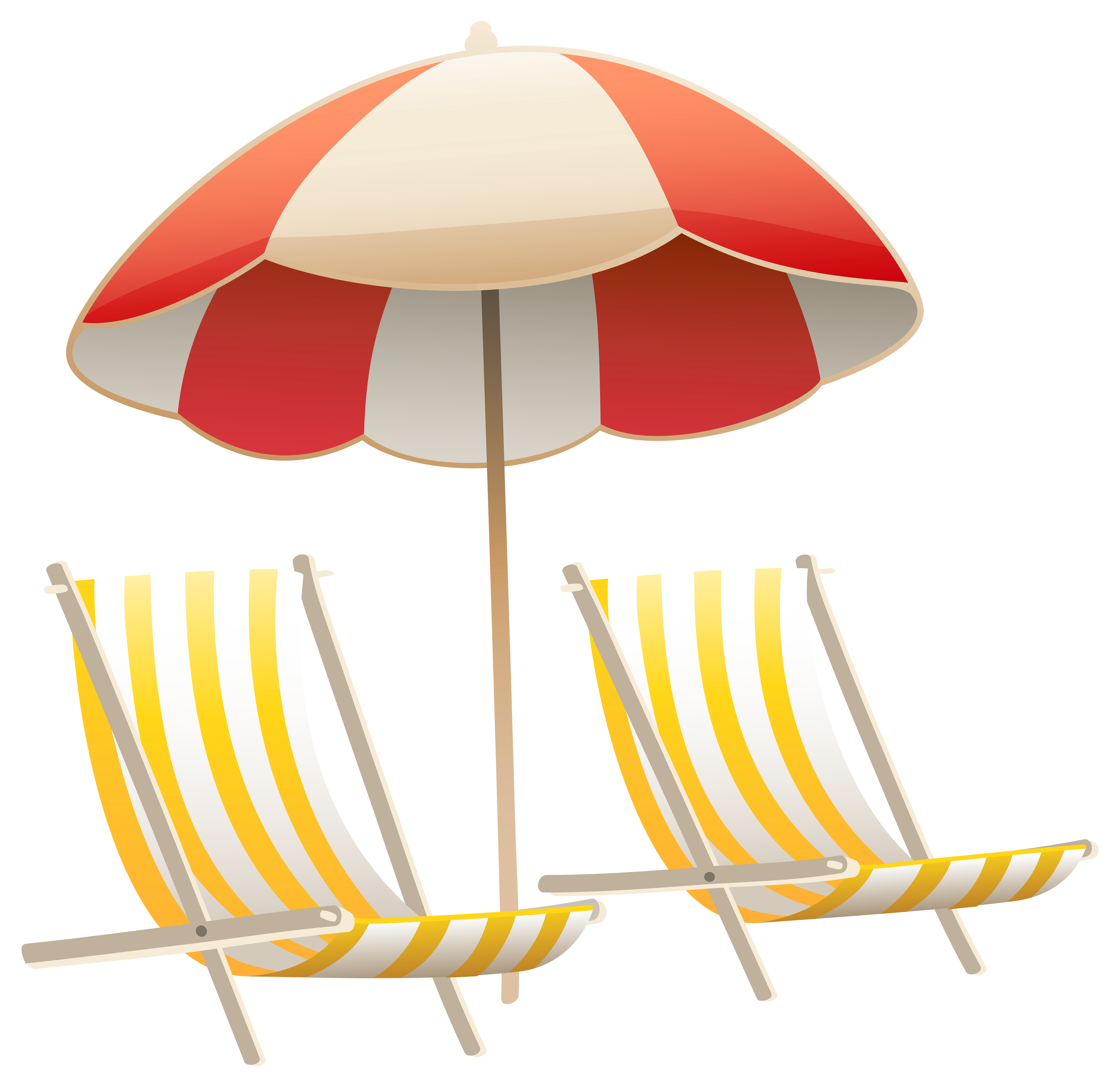 Beach Umbrella and Chairs PNG Clipart Image Beach