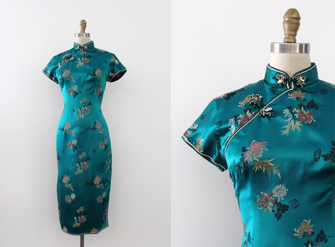 vintage 1960s Cheongsam dress // 60s silk turquoise Qipao by TrunkofDresses on Etsy https://www.etsy.com/listing/458703526/vintage-1960s-cheongsam-dress-60s-silk