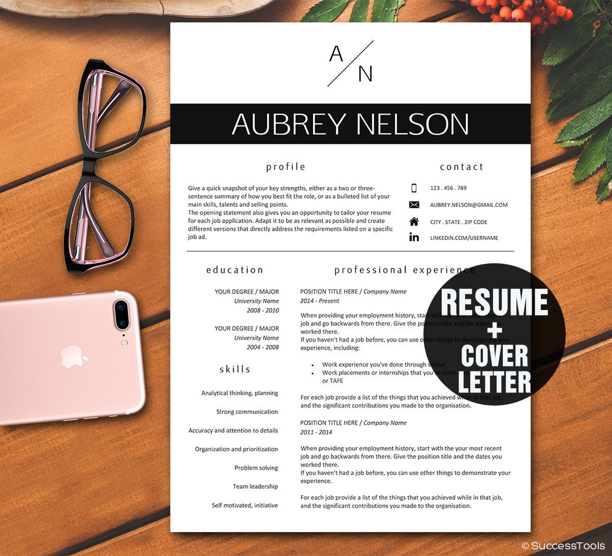 Resume Template  Modern Resume Template Instant Download For Word