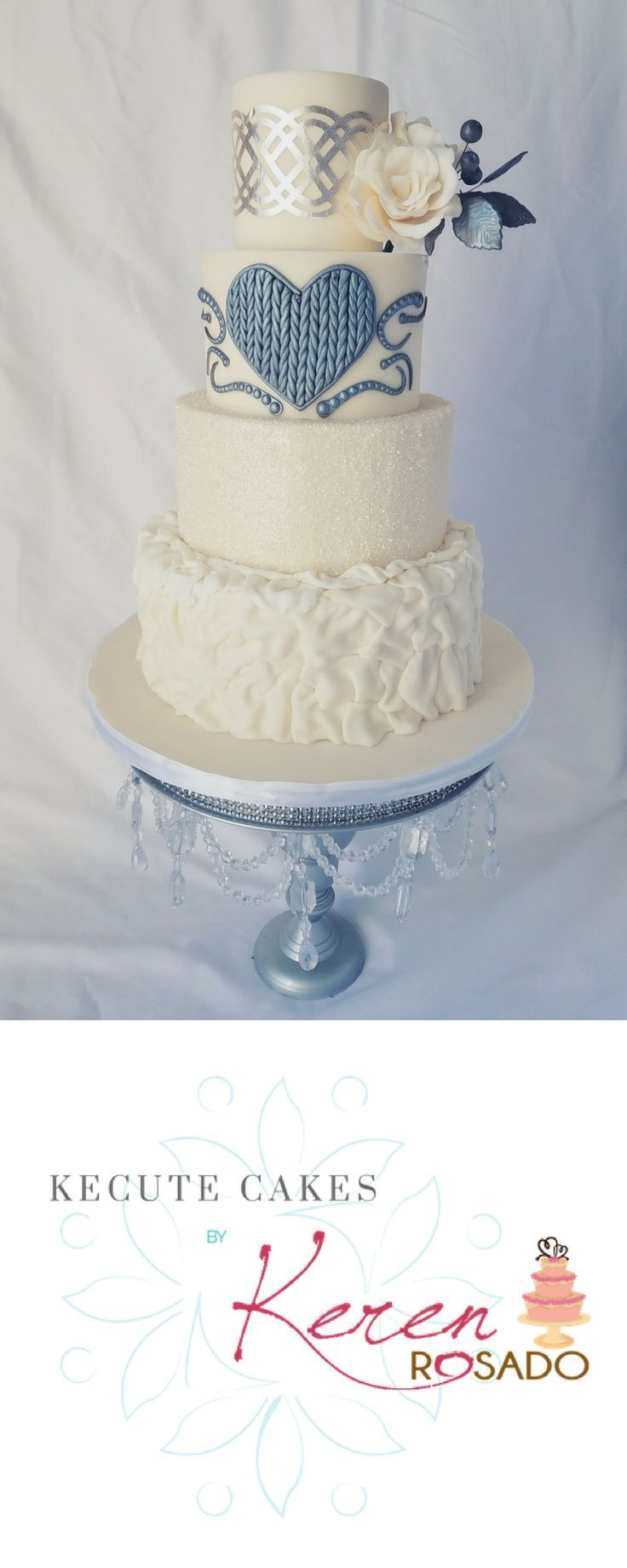 Classic white with trendy silver wedding cake by cake artist Keren ...