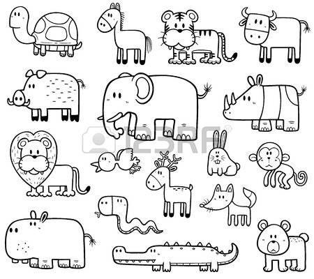 Stock Vector Ficha Animales Terrestres Para Colorear