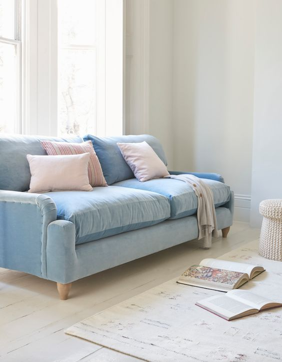 Loaf S Comfy Pavlova Sofa Upholstered In A Light Blue Velvet With Pastel Pink Scatters In T Light Blue Sofa Living Room Blue Sofas Living Room Blue Sofa Living