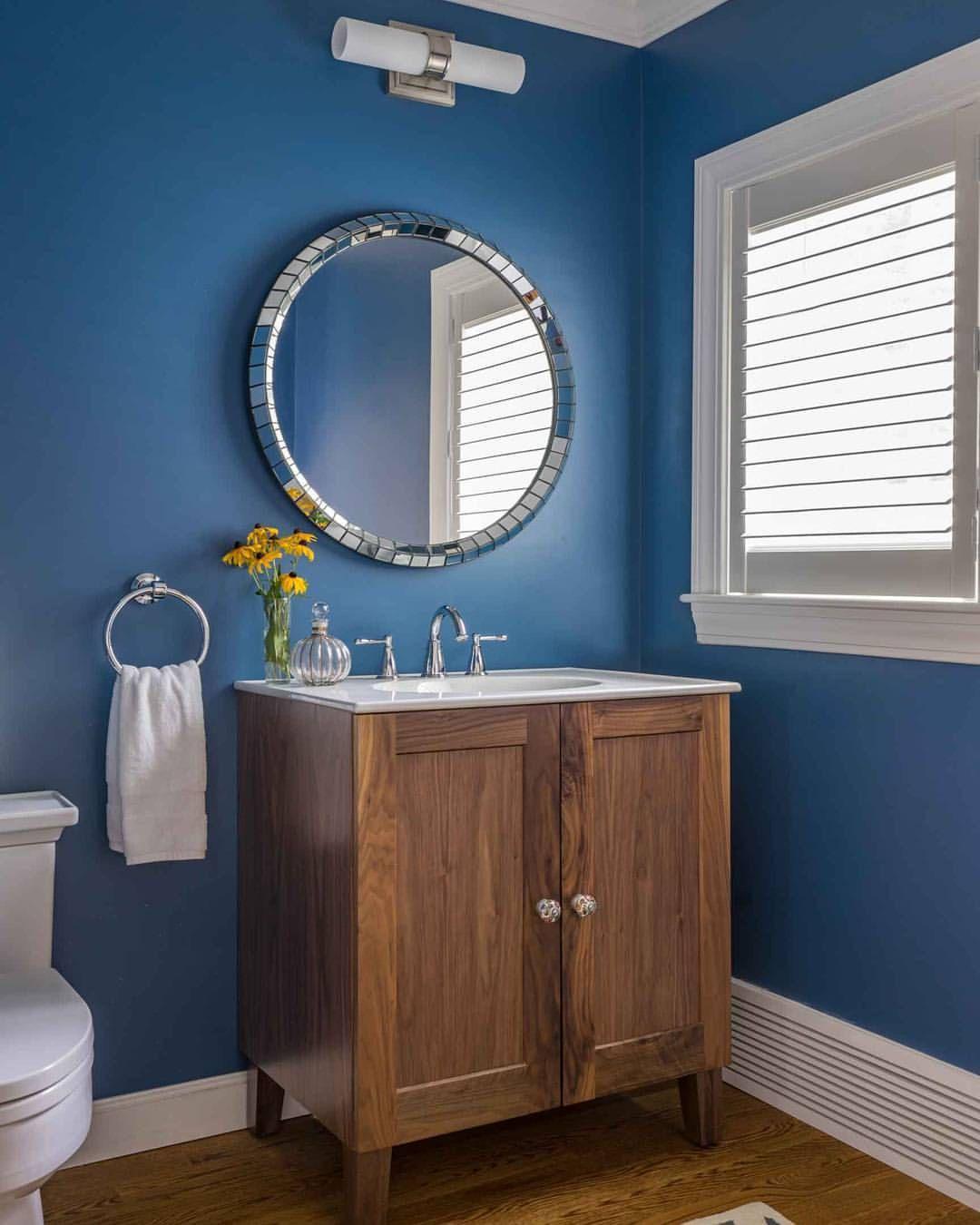 When you find the right blue! #bluewalls #powderbath #interiordesign ...