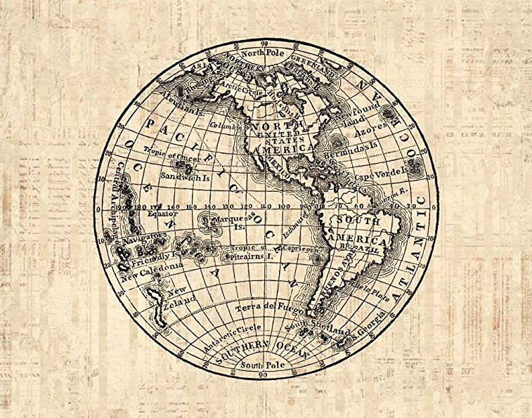 Antique world globe print with america western hemisphere old antique world globe print with america western hemisphere old fashioned map illustration print or poster gumiabroncs Image collections