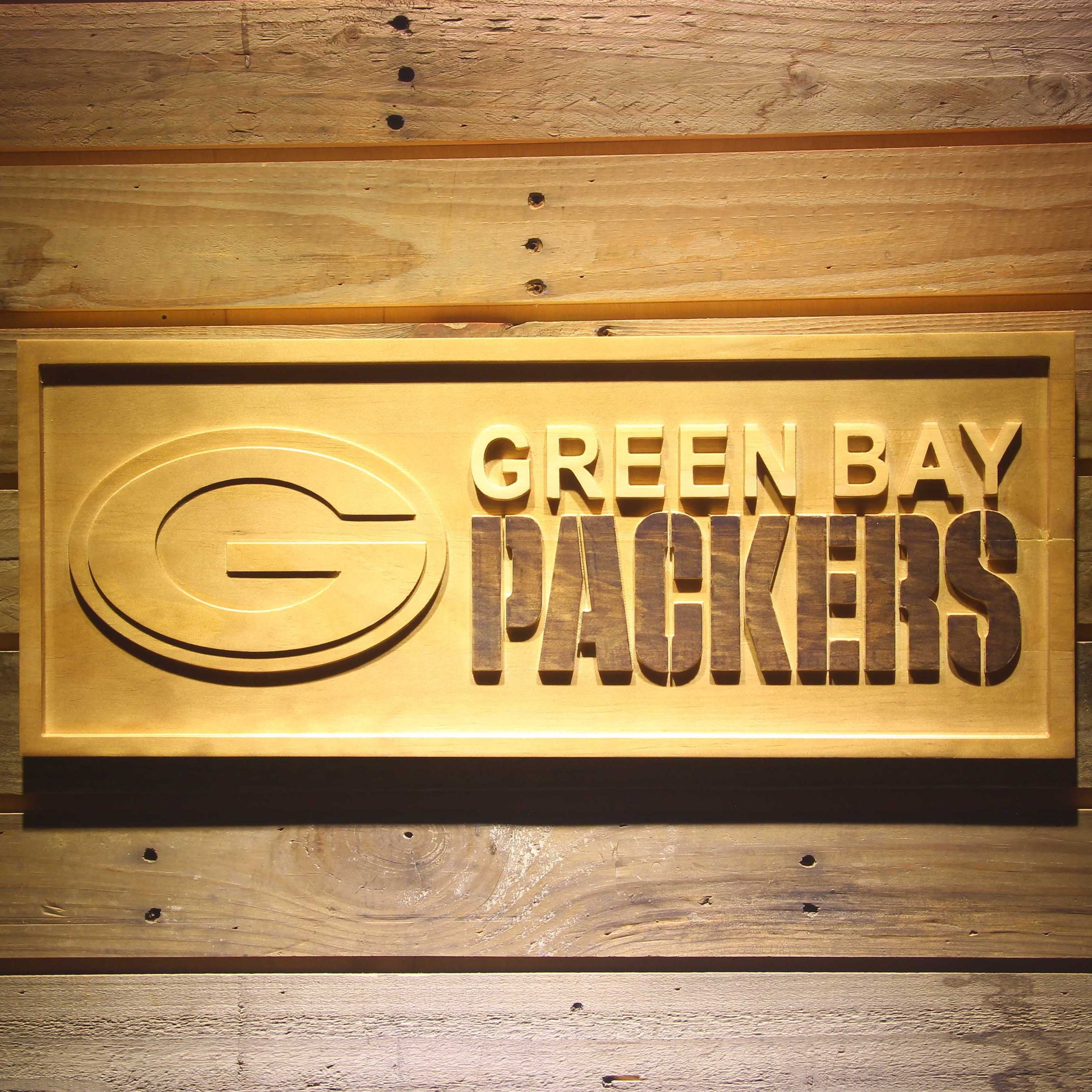 Green Bay Packers 3d Wooden Engraved Nfl Team Logo Wooden Signs Rustic Wooden Sign Wood