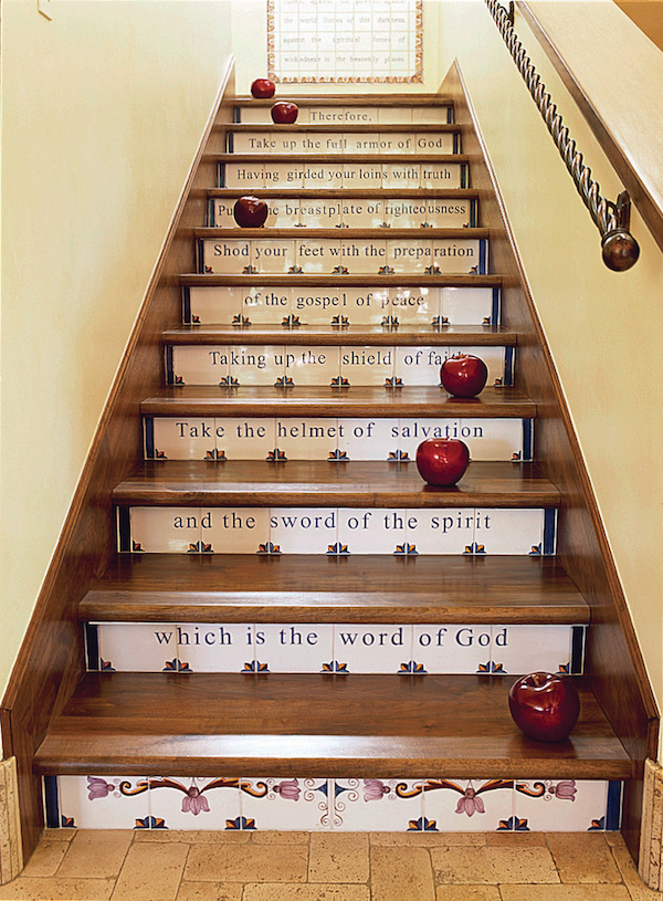 Tiled #stair Risers With #religious Quotes And Detailing
