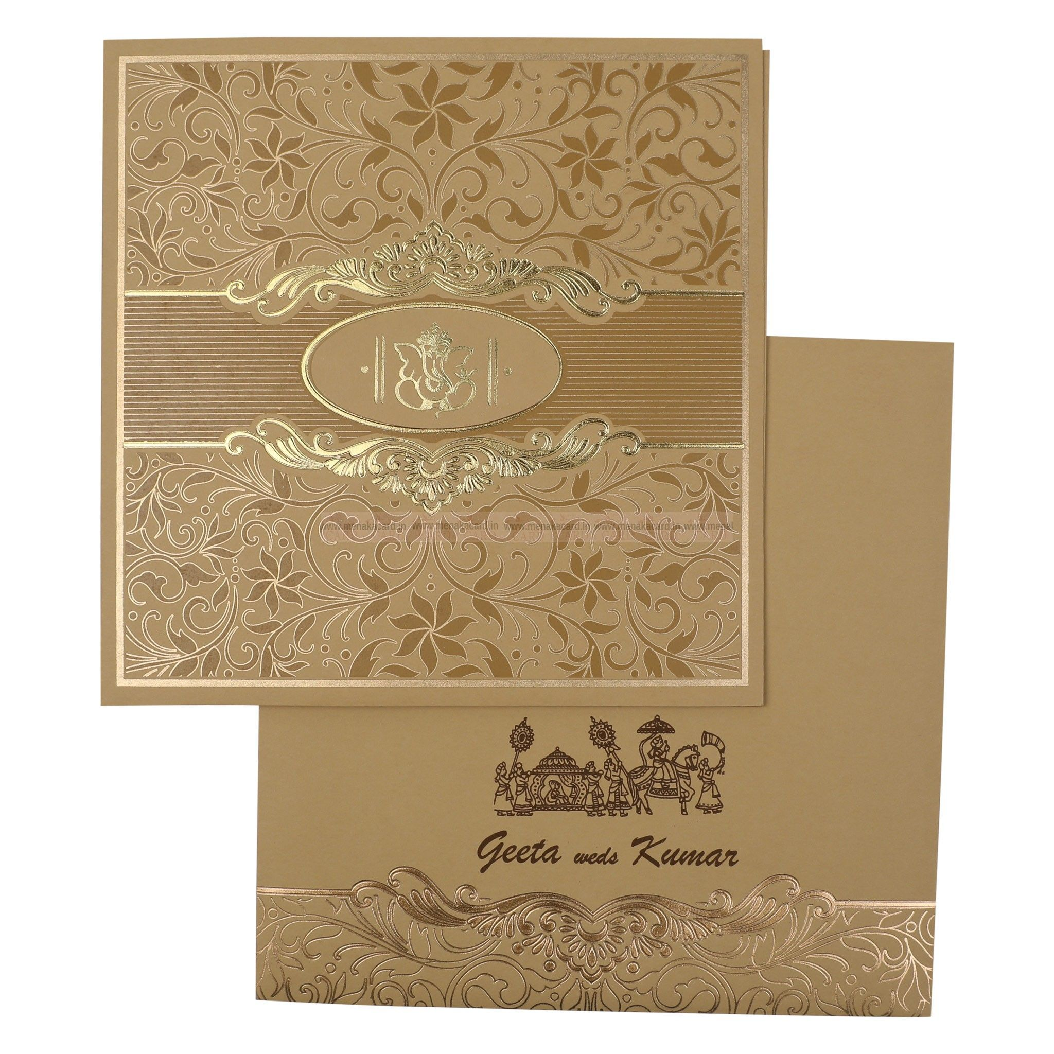 Matt Finish Cream Colour Card Front Page Flower Design Gold Ink And