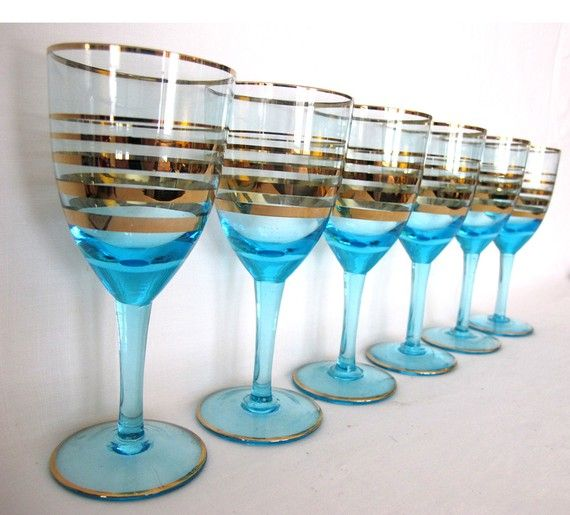 blue gold banded vintage wine glasses