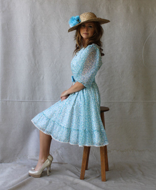 Whimsical soft blue chiffon floral garden party dress full skirt
