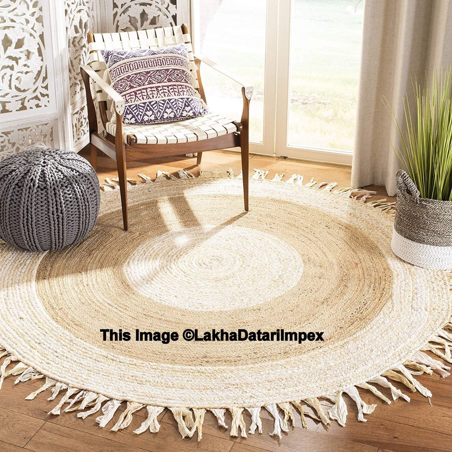 Indian Braided Rag Rug Round Handmade Jute Rug Natural Jute Round Rug Floor Rug Indian Handwoven Ribbed Solid Area Jute Round Rug Braided Area Rugs Floor Rugs