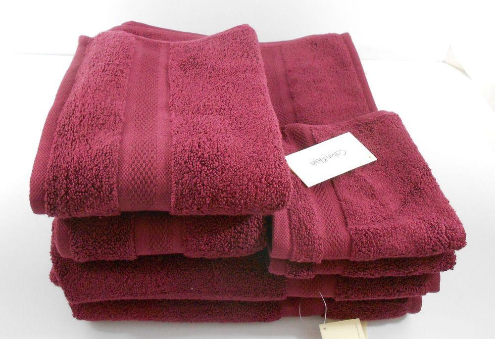Calvin Klein 6 Piece Bath Towel Set Solid Burgundy 100 Cotton