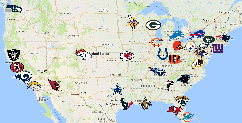 Nfl Map Nfl Teams Nfl Football League