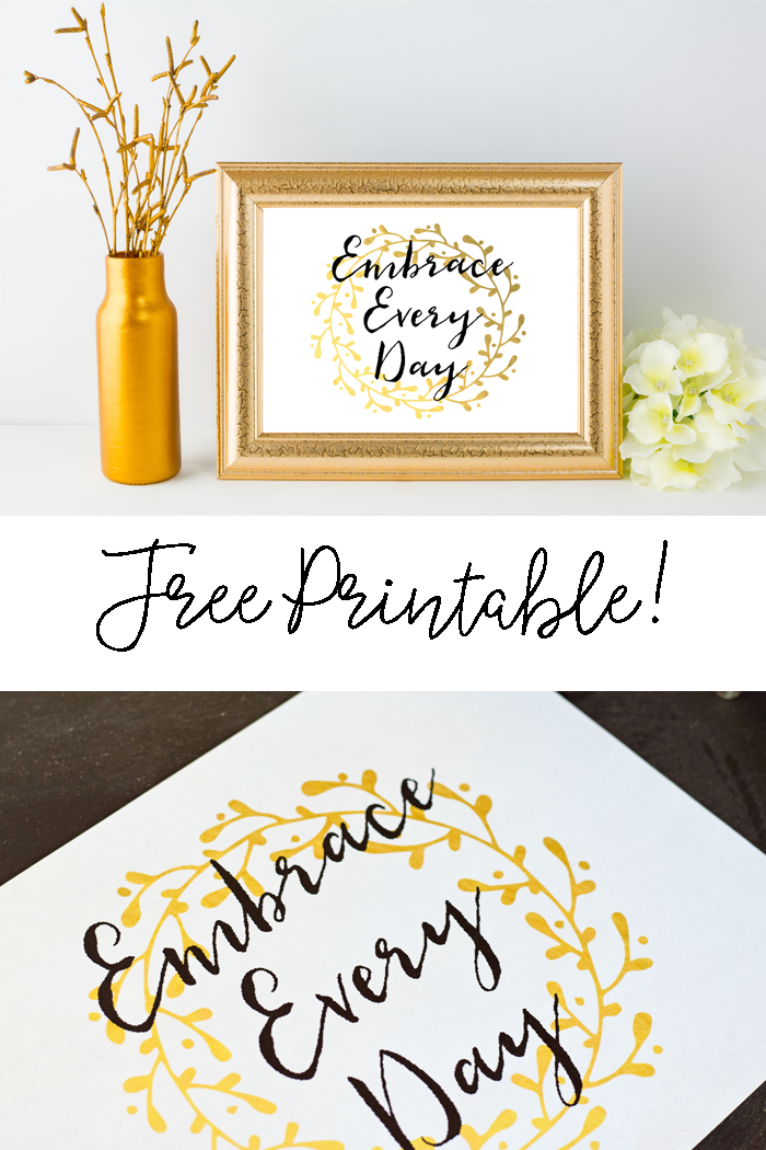 photo regarding Free Printable Quotes to Frame named Embrace Just about every Working day No cost Printable - body this printable as a