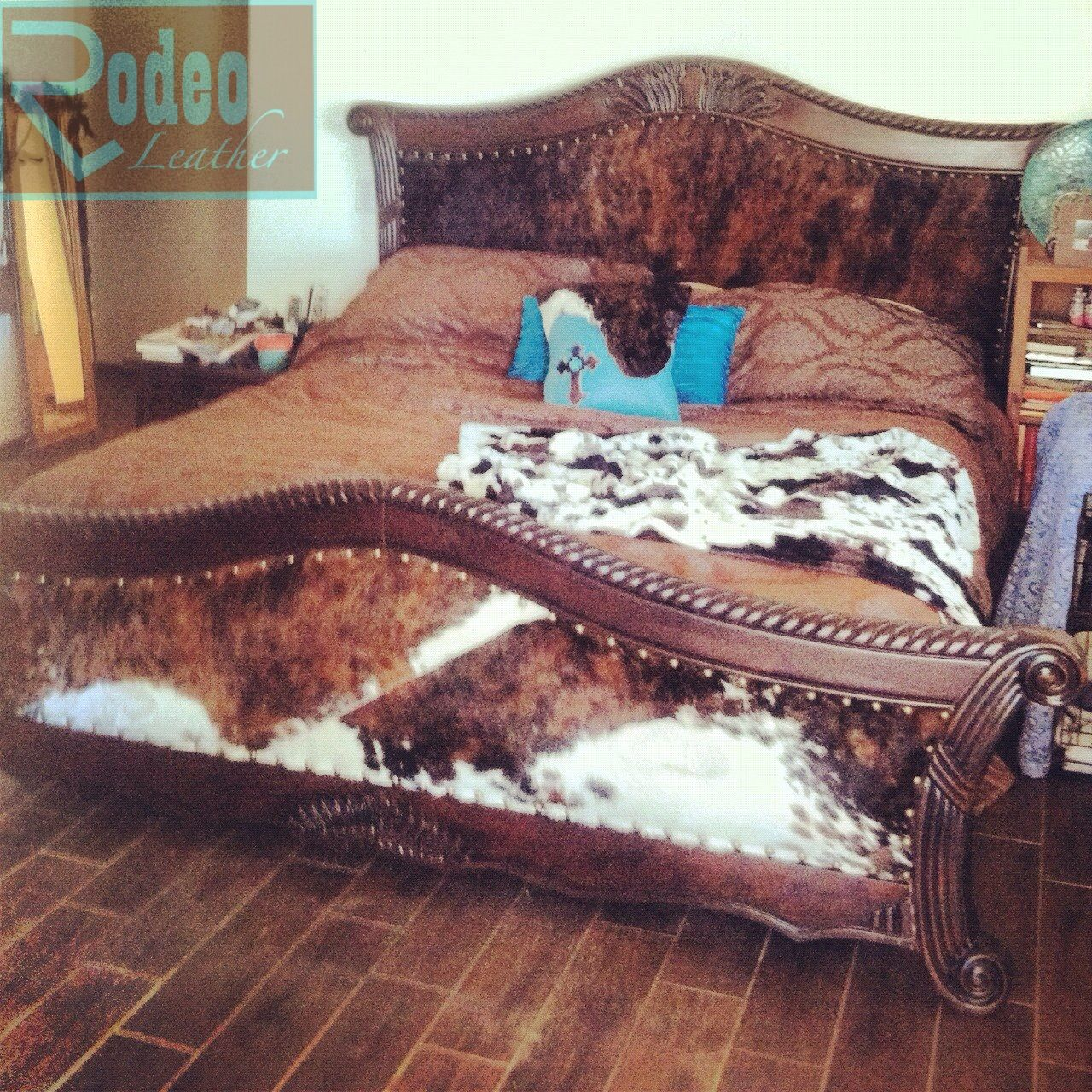 Wood And Leather Headboard: $60 Goodwill Cracked Wooden Bed. I Upholstered With Padded