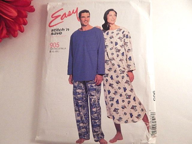 McCall's Sewing Pattern 905 year 2000 Easy Stitch N' Save pattern Unisex Men's or Women's  Nightshirt, Top and Pull-on Pants Size B (XL- XXL) Uncut pattern, factory folded, slightly tattered envelope Pattern and instructions in English Perfect for ...