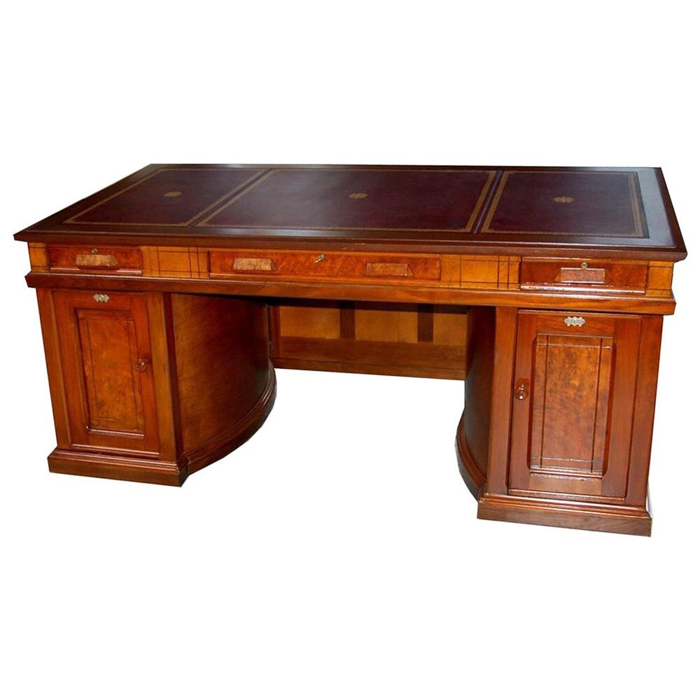Standard Grade Wooton Patent Lawyer's Own Rotary Desk executed in walnut  with double rotary base, original hardware and inset panels. - 789 Rare Antique 19th C. American Walnut Victorian Flat Top Desk By