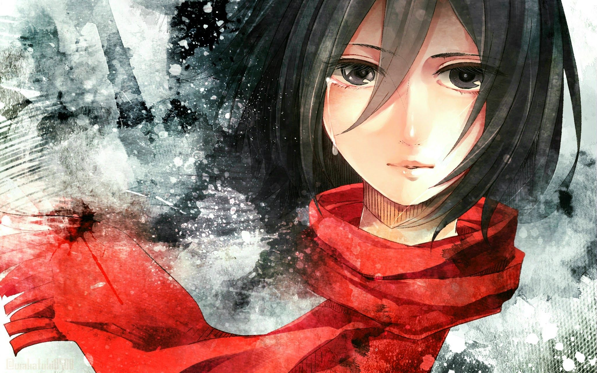 Mikasa Ackerman Anime Girl Red Scarf Crying Attack On