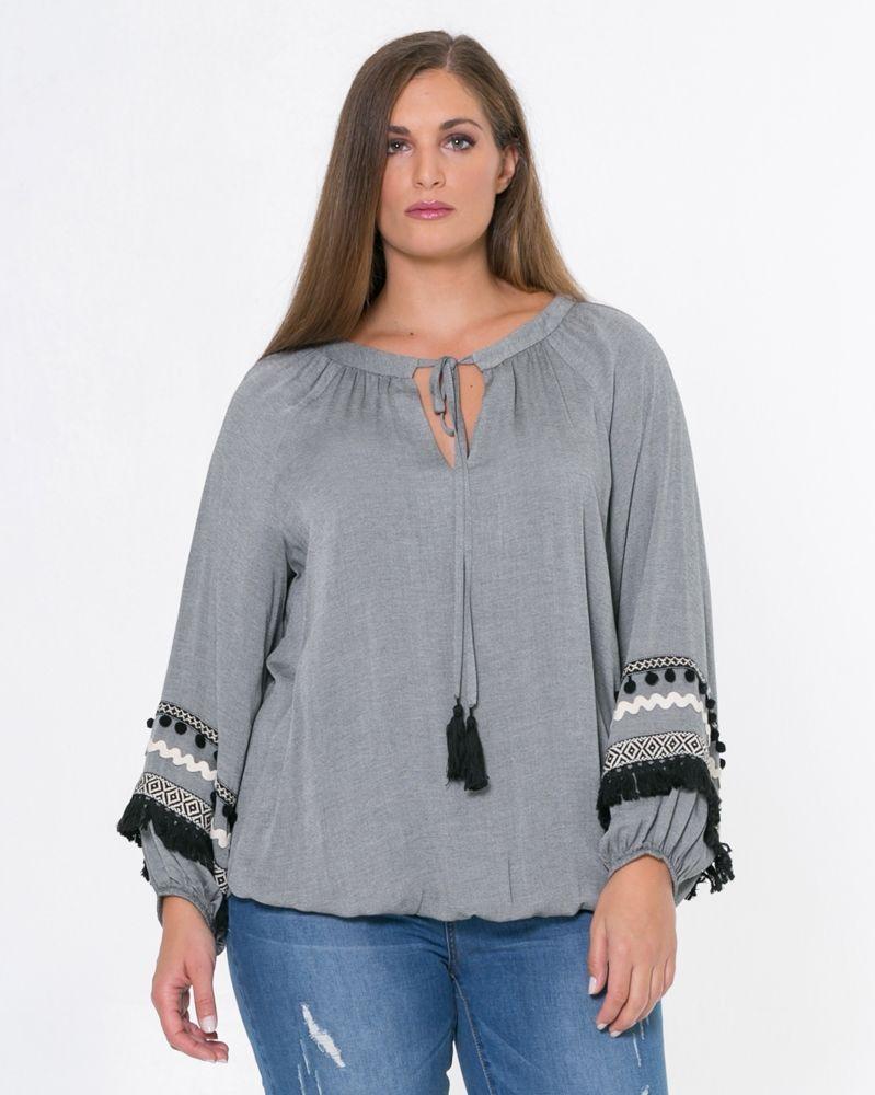 10d500906689 Μπλούζα με δέσιμο στη λαιμόκοψη και ethnic στοιχεία — mat. XXL sizes — Γυναικεία  Ρούχα