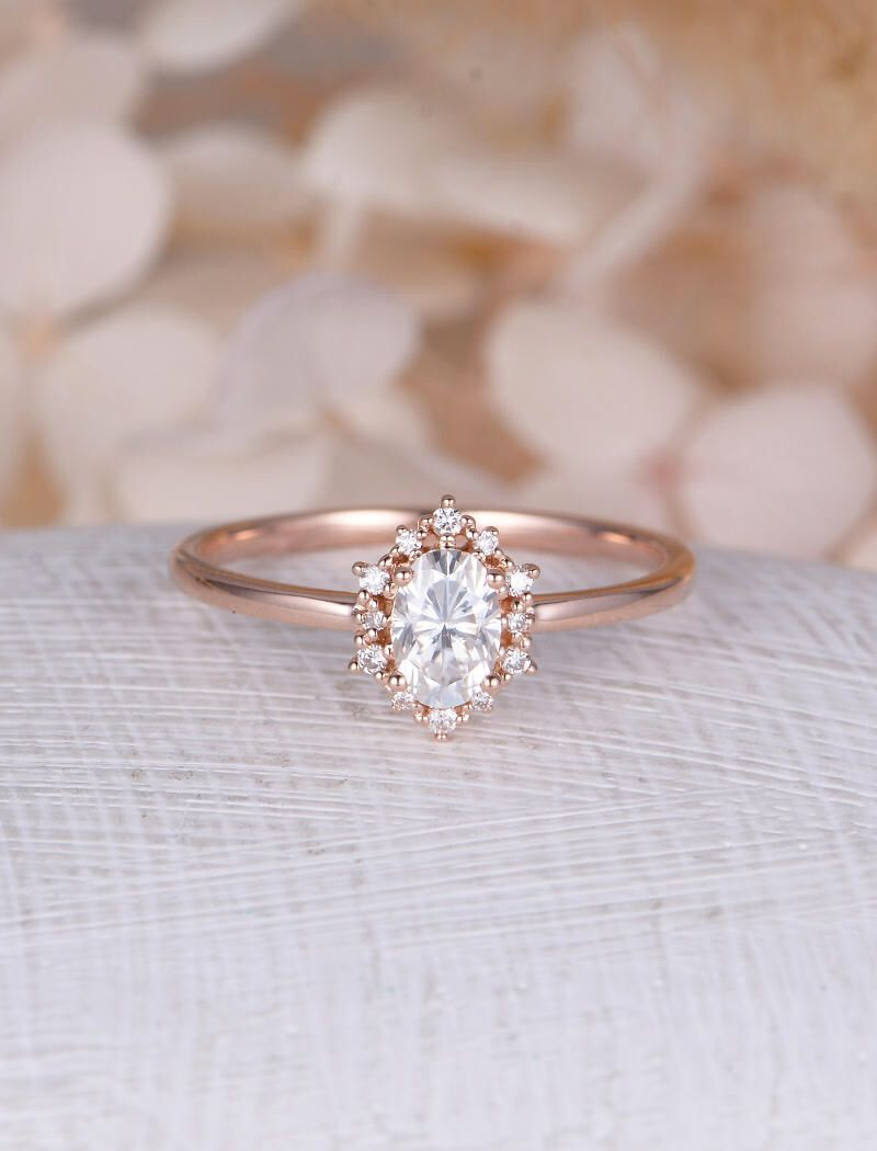 Vintage engagement ring oval moissanite engagement ring rose gold