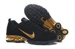 best service 4f57b cdd94 Nike Air Shox Flyknit Black Gold Shox R4 Men s Athletic Running Shoes