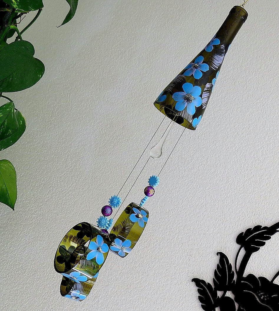 Wine bottle windchime, Amber wind chime, Blue and Lavender flowers, yard art, patio decor, recycled bottle wind chime, hand painted chime by LindasYardArt on Etsy