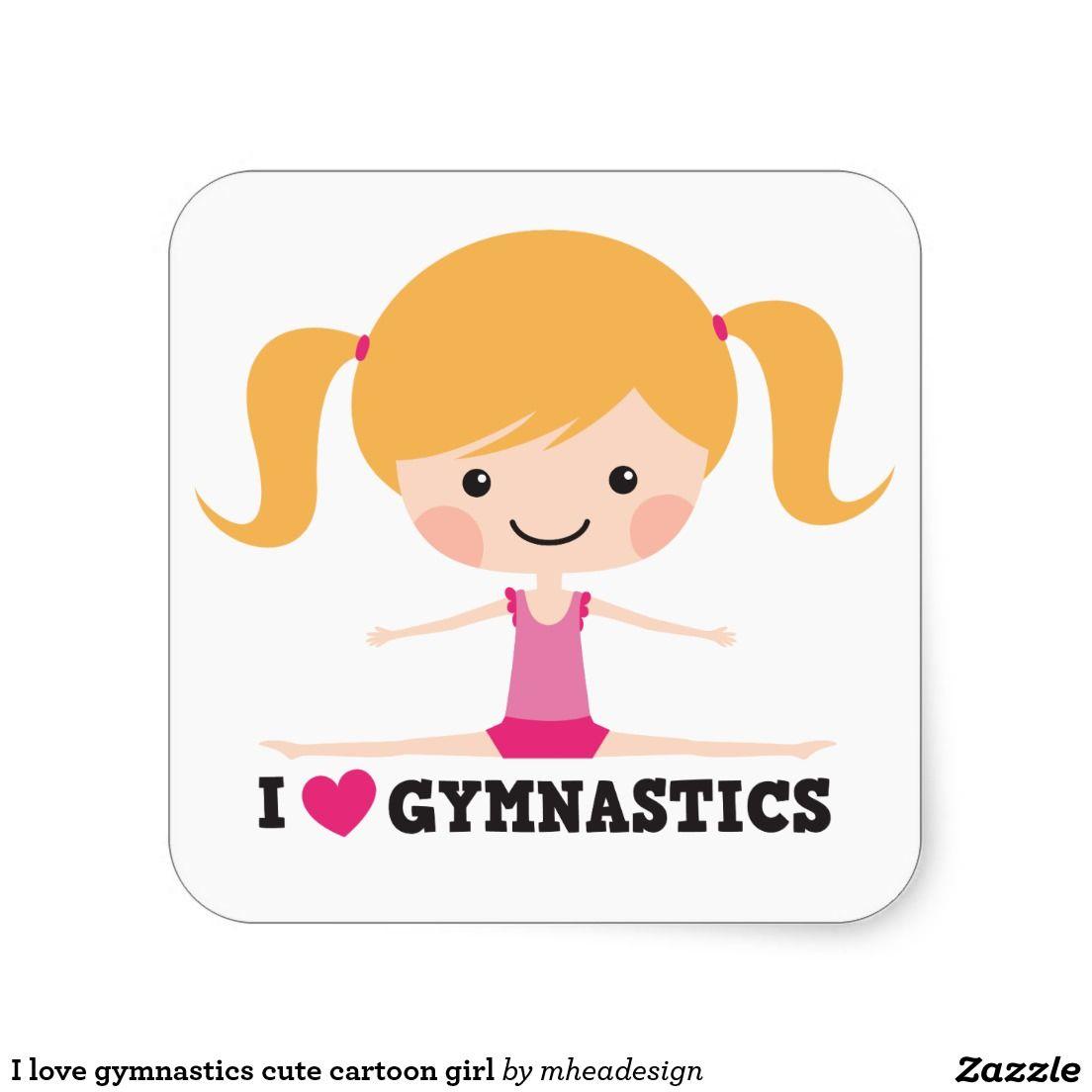 I love gymnastics cute cartoon girl square sticker  9c81f2557dc58