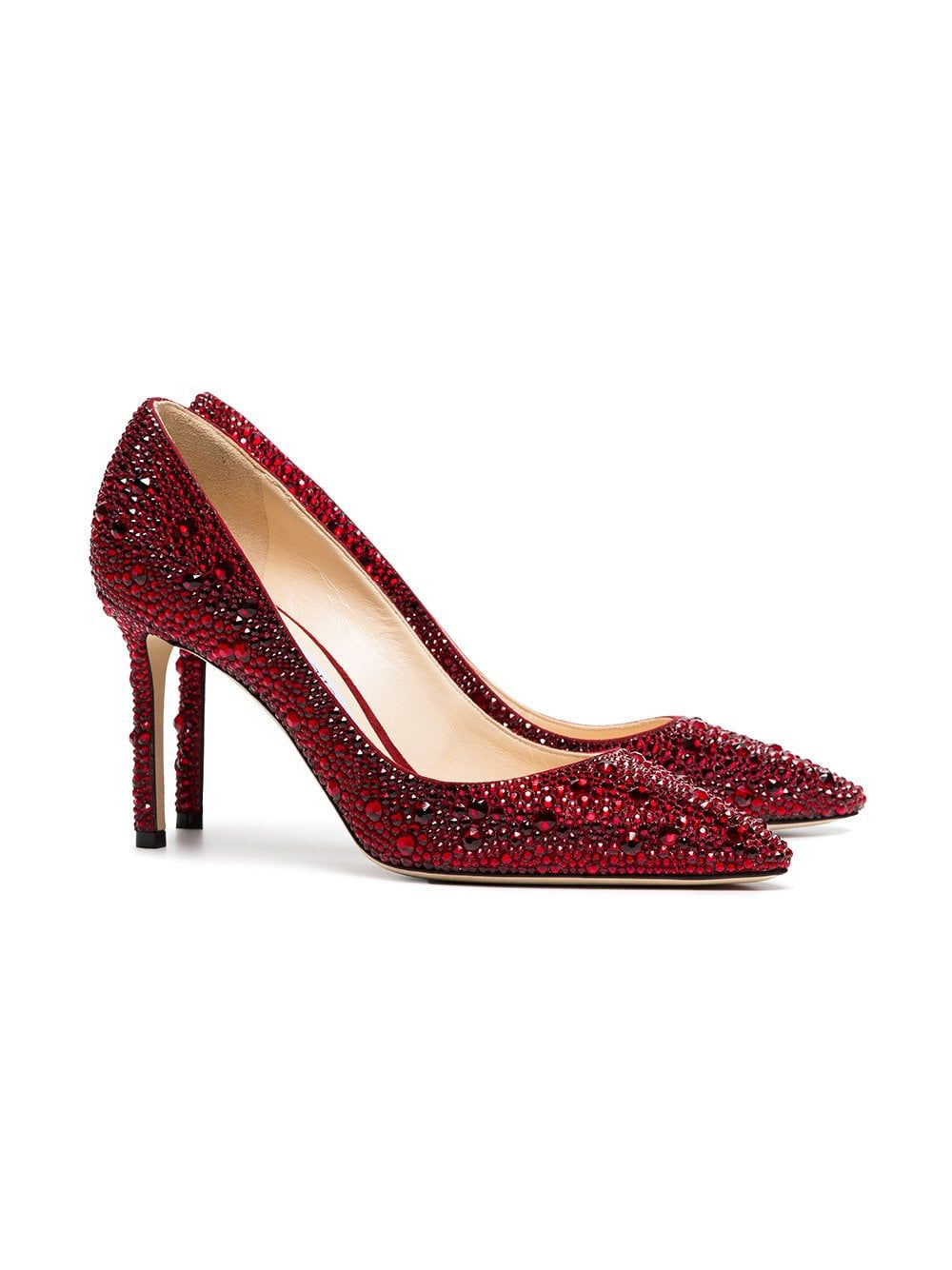 32a81fd3d9ad Jimmy Choo Red Romy 85 Crystal Pumps in 2019