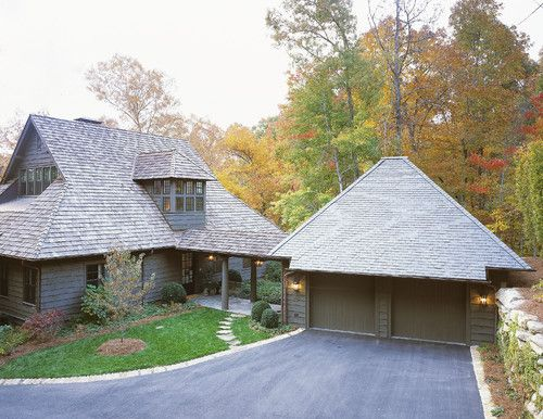 With Covered Walkway To Front Door Traditional Exterior House Exterior Detached Garage Designs
