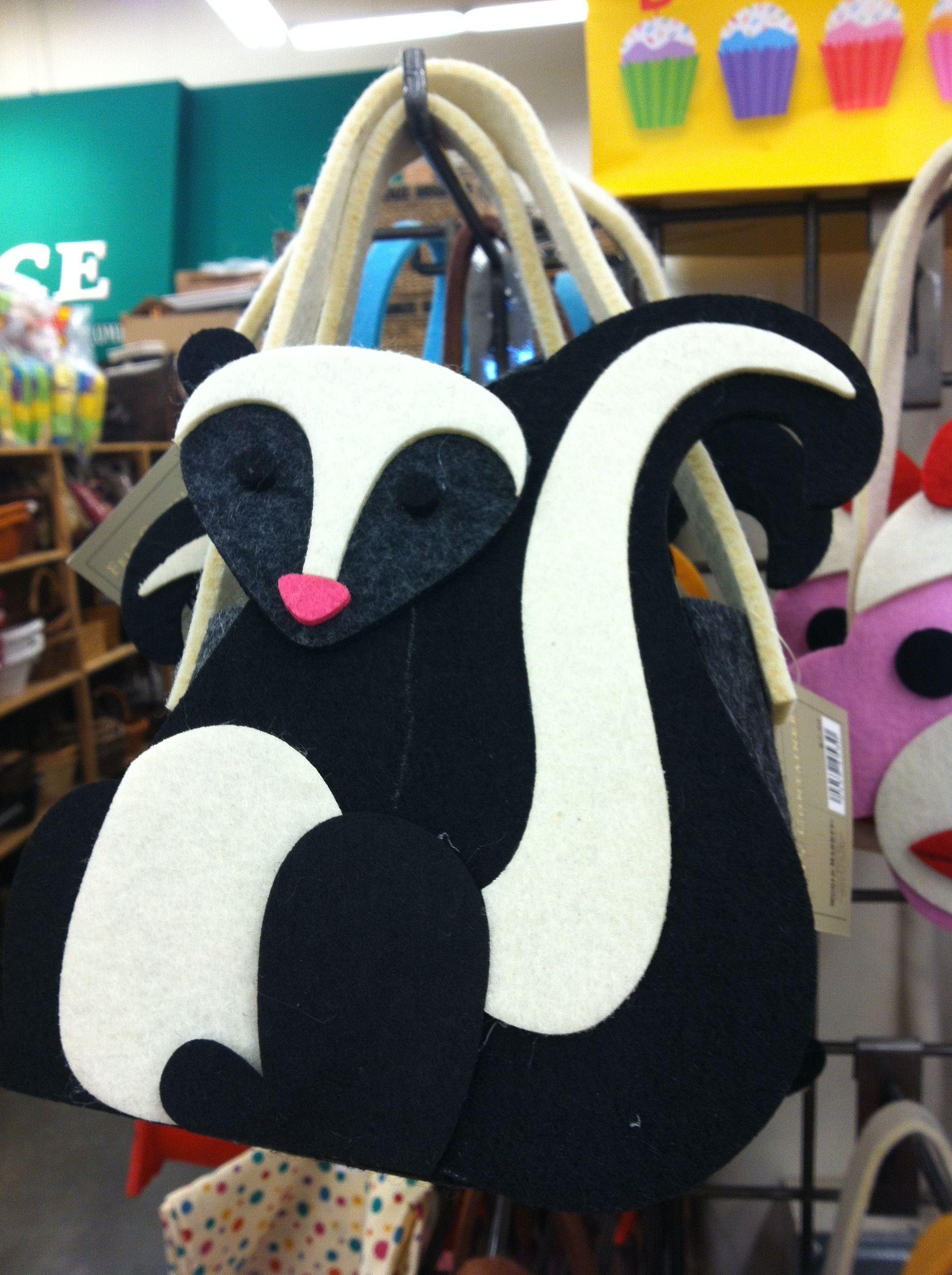 Adorable felt skunk bag at World Market.