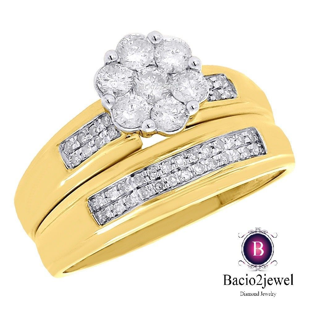 Lab Diamond Wedding Bridal Set Yellow Gold Over Round Cut Engagement