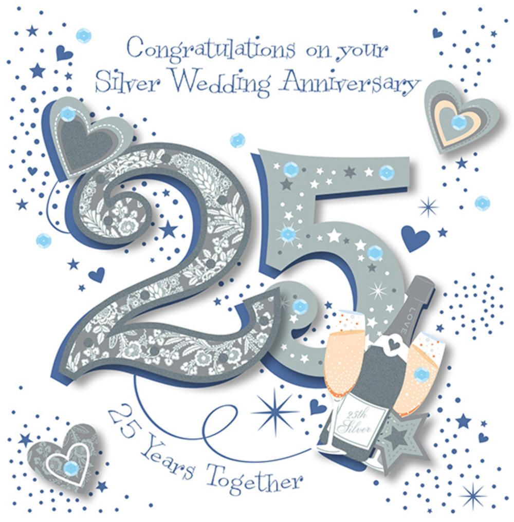 25th Wedding Anniversary Quotes: Handmade Silver 25th Wedding Anniversary Greeting Card