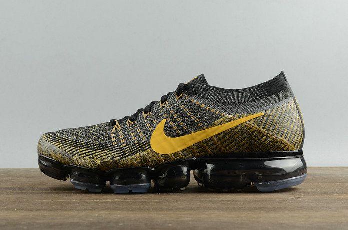cf8b5d5eb7605 Official Nike Air Vapormax Flyknit Black Noir Gold 849558-009 Youth Big  Boys Shoes