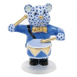 Herend Little Drummer Bear - Sapphire